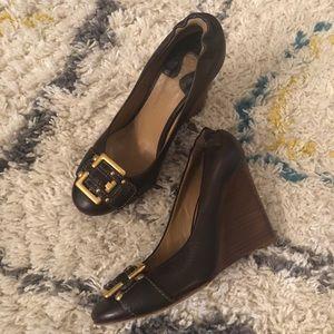 Chloé Leather Buckle Wedges Sz 37